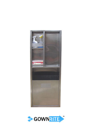 GownRite™ Stainless Steel Gowning Room In-Wall Alcohol and Teri Wipe Storage with Trash Bin front view