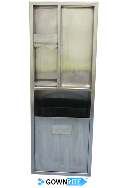 GownRite™ Stainless Steel Gowning Room In-Wall Alcohol and Teri Wipe Storage with Trash Bin installed front view