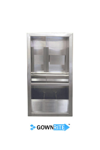 GownRite™ Stainless Steel Gowning Room In-Wall Hearing Protection and Safety Glasses Dispenser Storage Cabinet with Glove Organizer Shelf front view