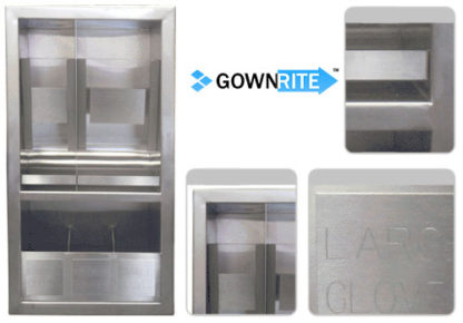 GownRite™ Stainless Steel Gowning Room In-Wall Hearing Protection and Safety Glasses Dispenser Storage Cabinet with Glove Organizer Shelf details view