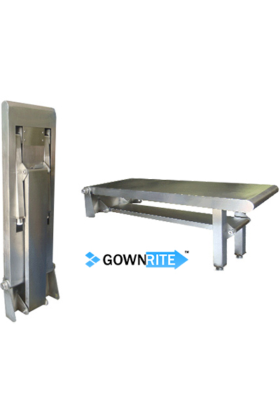 GownRite™ Stainless Steel Wall-Mounted Folding Gowning Bench main view