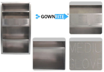 GownRite™ Stainless Steel Gowning Room In-Wall Breathing Protection, Gauntlet, Lab Coat, and Mask Storage Cabinet with Glove Organizer Bin details view