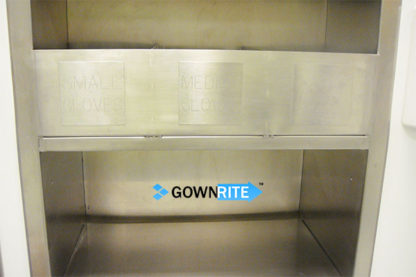 GownRite™ Stainless Steel Gowning Room In-Wall Breathing Protection, Gauntlet, Lab Coat, and Mask Storage Cabinet with Glove Organizer Bin close-up view of glove organizer bin