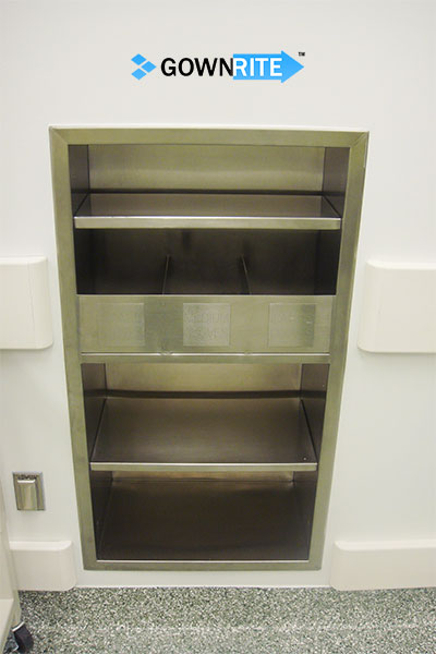 GownRite™ Stainless Steel Gowning Room In-Wall Breathing Protection, Gauntlet, Lab Coat, and Mask Storage Cabinet with Glove Organizer Bin picture showing installed in facility