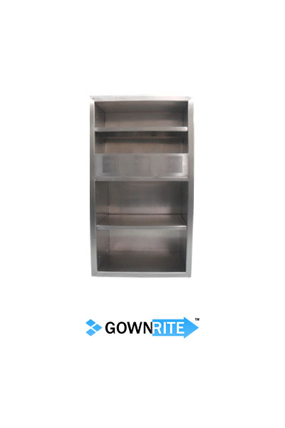 GownRite™ Stainless Steel Gowning Room In-Wall Breathing Protection, Gauntlet, Lab Coat, and Mask Storage Cabinet with Glove Organizer Bin front view