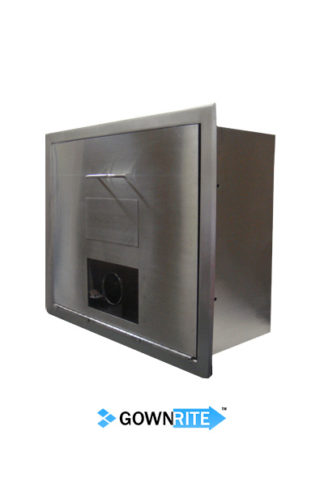 GownRite™ Stainless Steel Gowning Room In-Wall Shoe Cover Dispenser Storage Cabinet Wide Version front side angle view