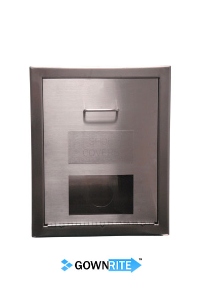 GownRite™ Stainless Steel Gowning Room In-Wall Shoe Cover Dispenser Storage Cabinet front view