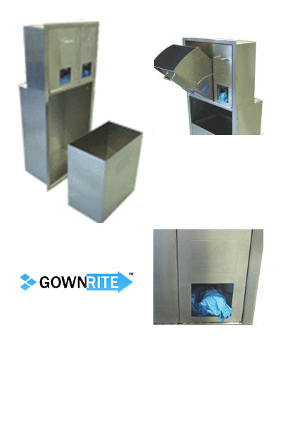 GownRite™ Stainless Steel Gowning Room In-Wall Hair and Beard Cover Dispenser with Trash Bin details view