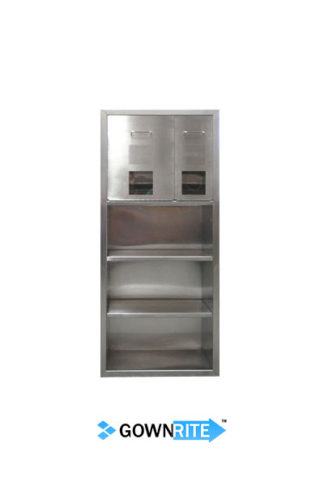 GownRite™ Stainless Steel Gowning Room In-Wall Head Cover and Mask Dispenser with Storage Shelves front view