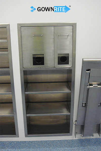 GownRite™ Stainless Steel Gowning Room In-Wall Head Cover and Mask Dispenser with Storage Shelves installed front view
