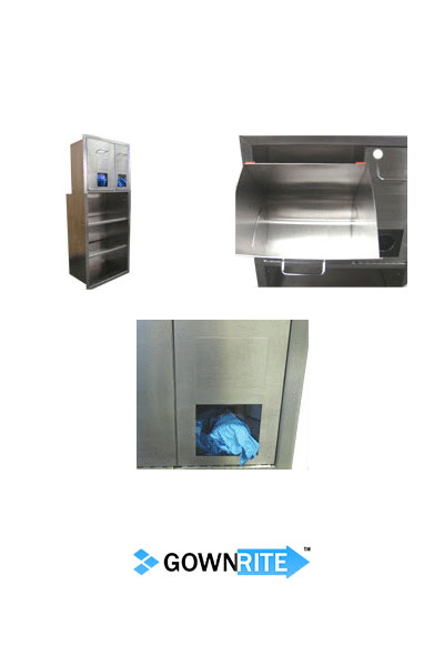 GownRite™ Stainless Steel Gowning Room In-Wall Head Cover and Mask Dispenser with Storage Shelves detail view