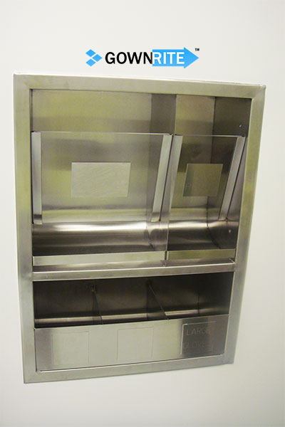 GownRite™ Stainless Steel Gowning Room In-Wall Hearing Protection, Mask, and Safety Glasses Dispenser Storage Cabinet shown installed in wall