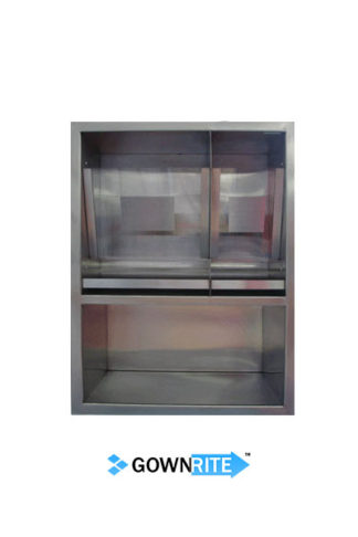 GownRite™ Stainless Steel Gowning Room In-Wall Hearing Protection, Mask, and Safety Glasses Dispenser Storage Cabinet front view