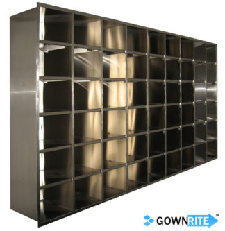 GownRite™ Stainless Steel Clean Room Shoe Storage Rack with 54 Bins front view