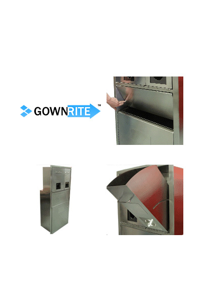 GownRite™ Stainless Steel Clean Room Shoe Cover and Mask Storage with Laundry Bin detail view