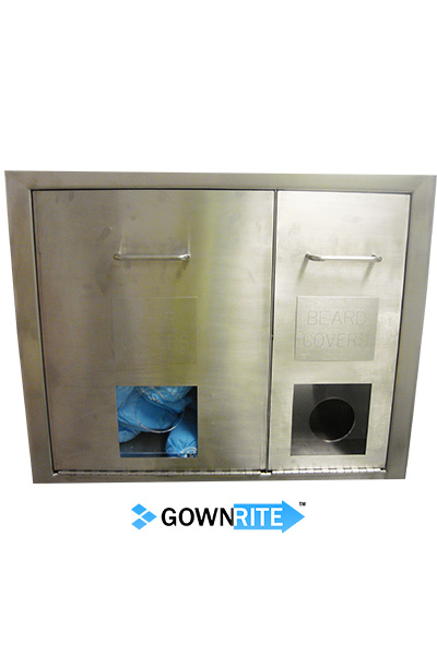 GownRite™ Stainless Steel Gowning Room In-Wall Hearing Protection, Safety Glasses, Hair Covers, and Beard Covers Dispenser Storage Cabinet shown installed in wall showing cover dispenser detail