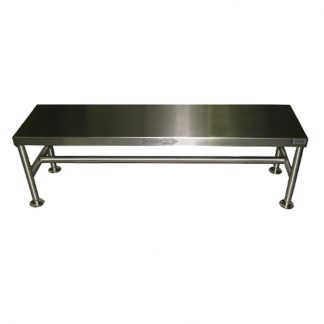 GownRite™ Stainless Steel Floor-Mounted Gowning Bench for donning booties or shoe covers front view