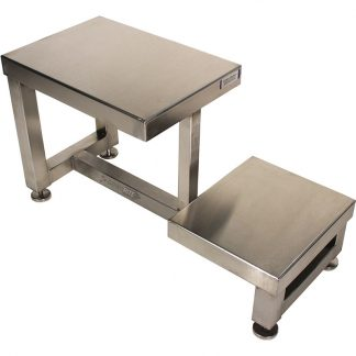 GownRite™ Stainless Steel Gowning Bench with Foot Rest for donning booties or shoe covers top view