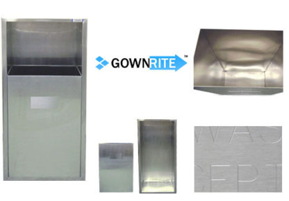 GownRite™ Stainless Steel Gowning Room In-Wall Trash Bin details view
