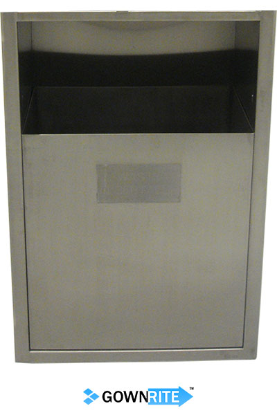 GownRite™ Stainless Steel Clean Room In-Wall Waste Bin close-up view