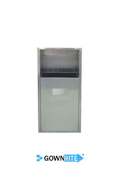 GownRite™ Stainless Steel Gowning Room In-Wall Trash Bin front view