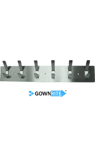 GownRite™ Stainless Steel Wall-Mounted Lab Coat Hooks front view