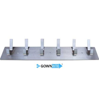 GownRite™ Stainless Steel Wall-Mounted Lab Coat Hooks from bottom angle view