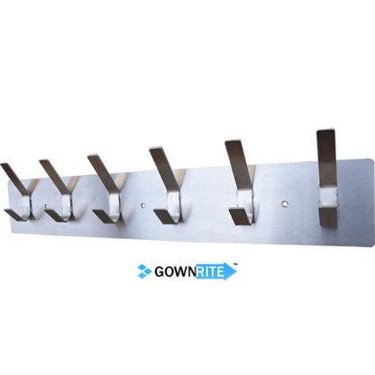 GownRite™ Stainless Steel Wall-Mounted Lab Coat Hooks right angle view