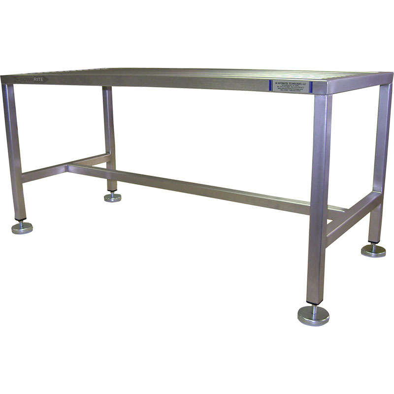GownRite™ Stainless Steel Rod Top Gowning Bench for donning booties or shoe covers side view