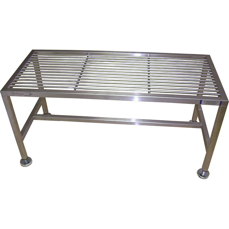 GownRite™ Stainless Steel Rod Top Gowning Bench for donning booties or shoe covers top view