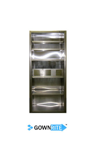 GownRite™ Stainless Steel Clean Room Suit Storage with Glove Bin front view