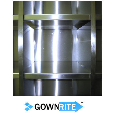 GownRite™ Stainless Steel Clean Room Shoe Storage Rack with 54 Bins close up view of shoe storage cubbie