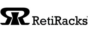 RetiRacks™ logo for https://www.retiracks.com G2's reticle racks and wafer storage solutions web site in black for site link