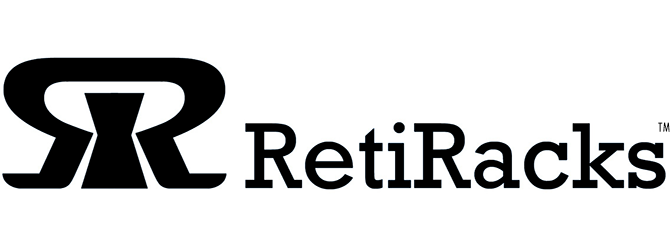 RetiRacks™ logo for https://www.retiracks.com G2's reticle racks and wafer storage solutions web site in black for site link
