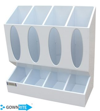 GownRite™ Polypropylene Glove Dispenser and Organizer Cabinet has four (4) dispensing glove bins