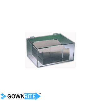 GownRite™ Acrylic Wipe Dispenser showing clear version with tech wipes inside
