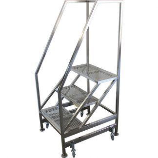 GownRite™ Stainless Steel Step Ladder for Clean Rooms shown in electropolished version