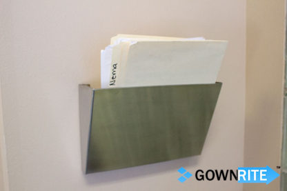 GownRite™ Stainless Steel Hanging File Folder Bin shown with files inserted