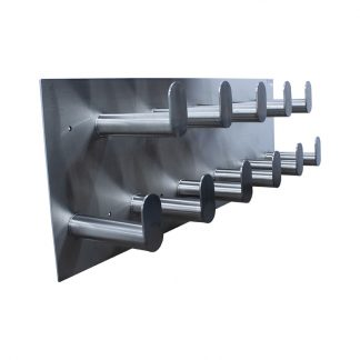Side view image of G2's stainless steel hose rack for storing large diameter hoses such as fire hoses, vacuum hoses, and more.