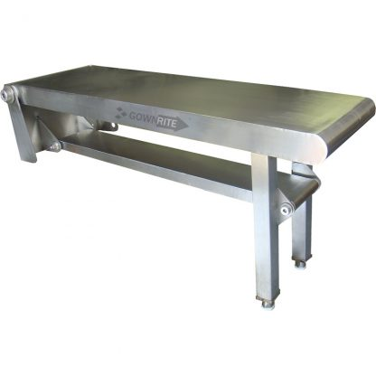 Left side view of folded down Gownrite Stainless Steel Gowning Bench