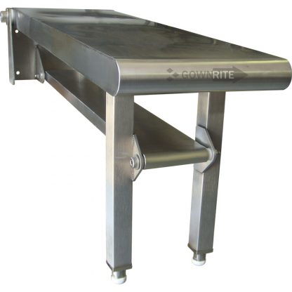 Front left side view of GownRite Wall-Mounted Stainless Steel Folding Gowning Bench